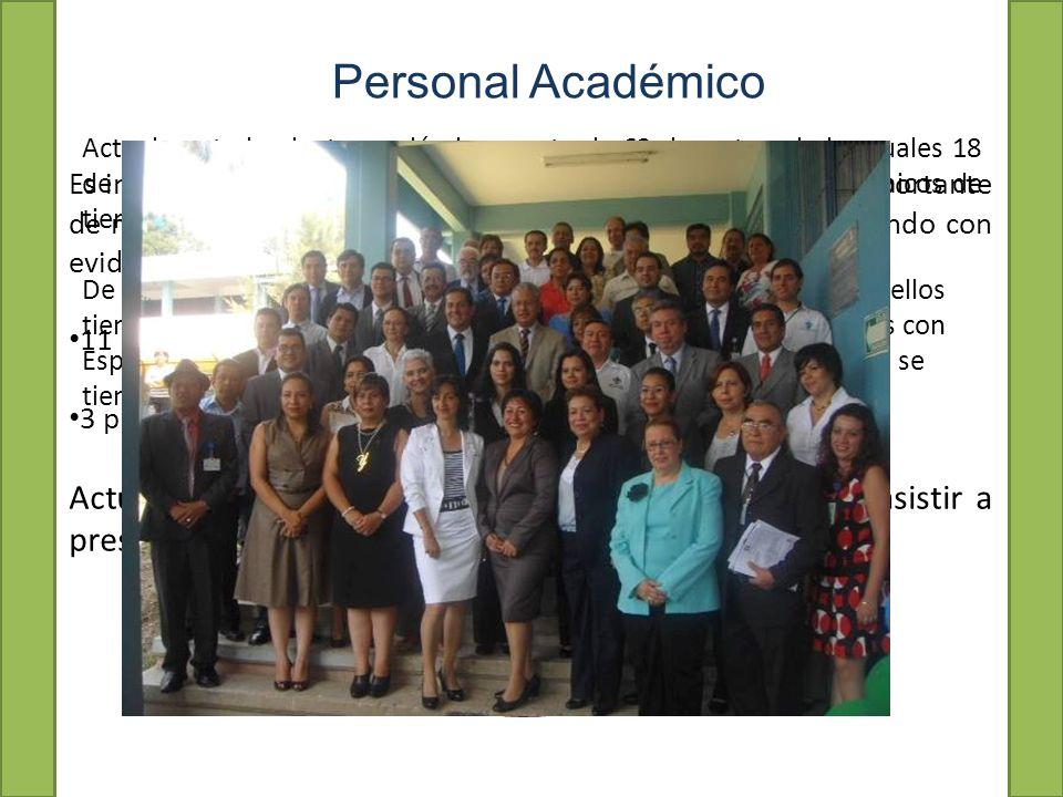 Actualmente la planta académica consta de 63 docentes, de los cuales 18 de ellos son maestros de tiempo completo, 6 son técnicos académicos de tiempo completo y 39 de ellos son maestros de asignatura.
