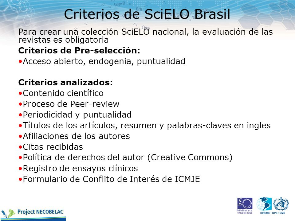 Criterios de SciELO Brasil