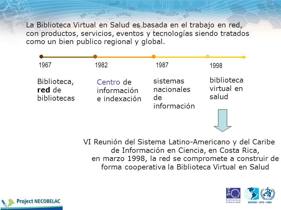 La Biblioteca Virtual en Salud es basada en el trabajo en red, con productos, servicios, eventos y tecnologías siendo tratados como un bien publico regional y global.