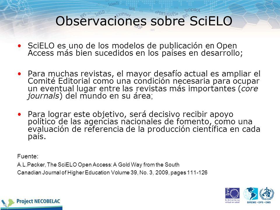 Observaciones sobre SciELO