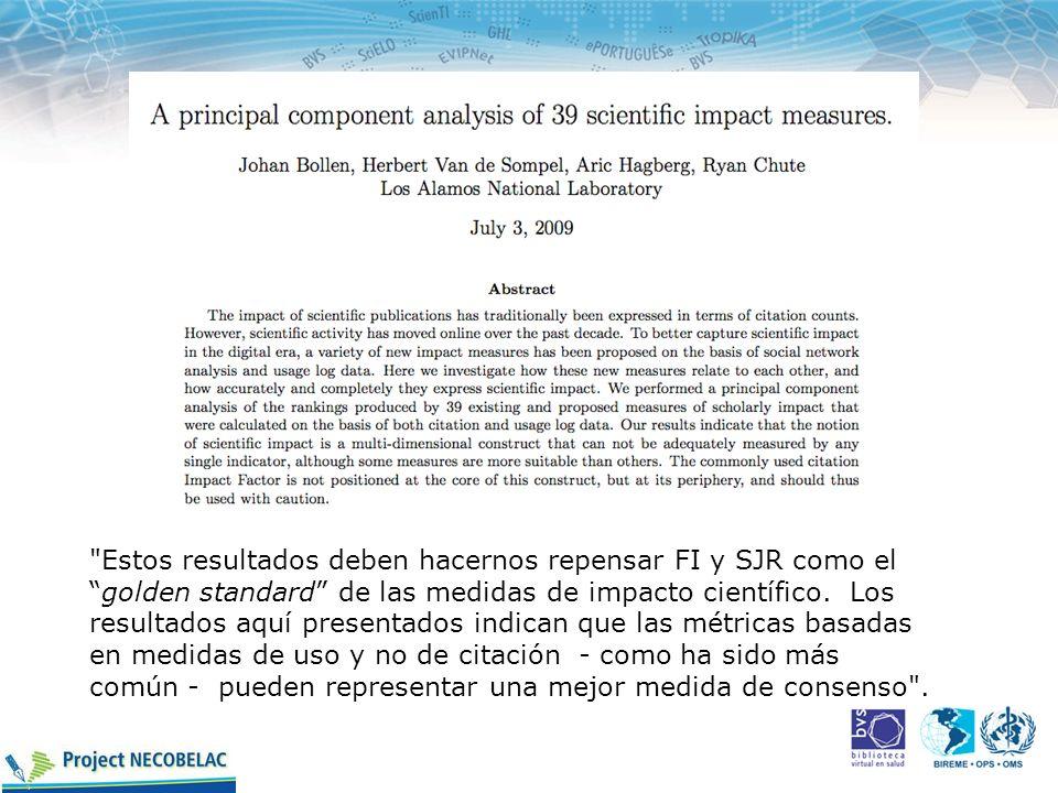 Estos resultados deben hacernos repensar FI y SJR como el golden standard de las medidas de impacto científico.