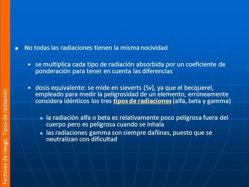 No todas las radiaciones tienen la misma nocividad
