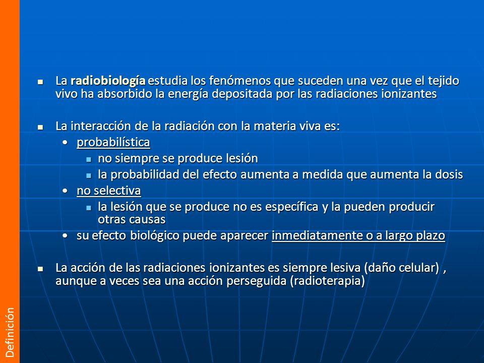 La interacción de la radiación con la materia viva es: probabilística