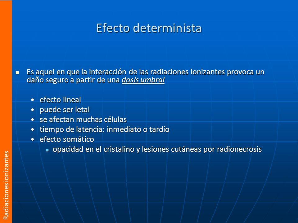 Efecto determinista Es aquel en que la interacción de las radiaciones ionizantes provoca un daño seguro a partir de una dosis umbral.