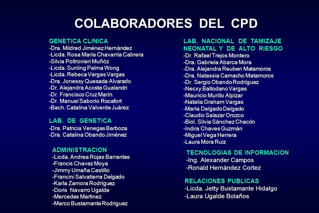 COLABORADORES DEL CPD GENETICA CLINICA LAB. NACIONAL DE TAMIZAJE