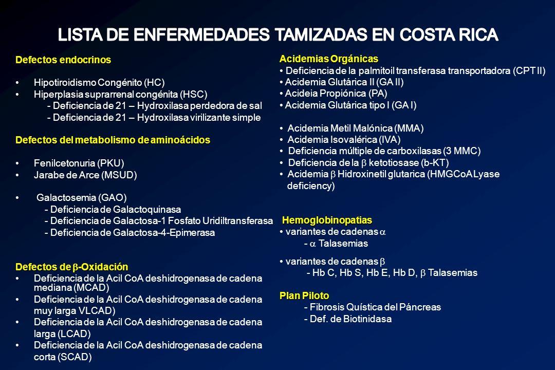 LISTA DE ENFERMEDADES TAMIZADAS EN COSTA RICA