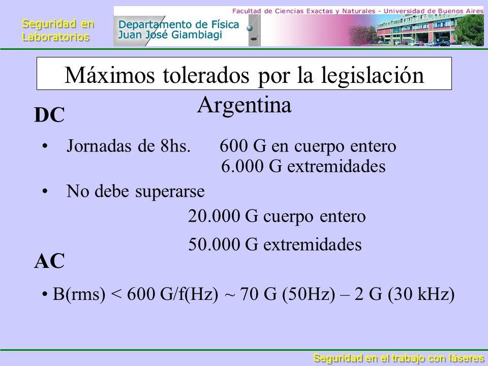 Máximos tolerados por la legislación Argentina