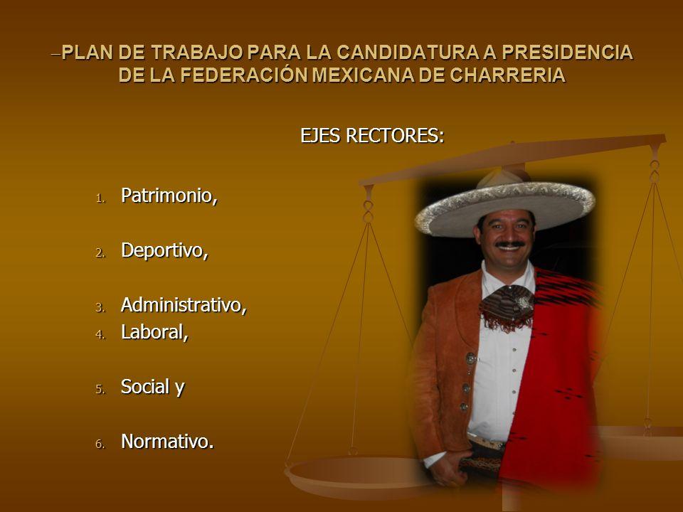 PLAN DE TRABAJO PARA LA CANDIDATURA A PRESIDENCIA DE LA FEDERACIÓN MEXICANA DE CHARRERIA