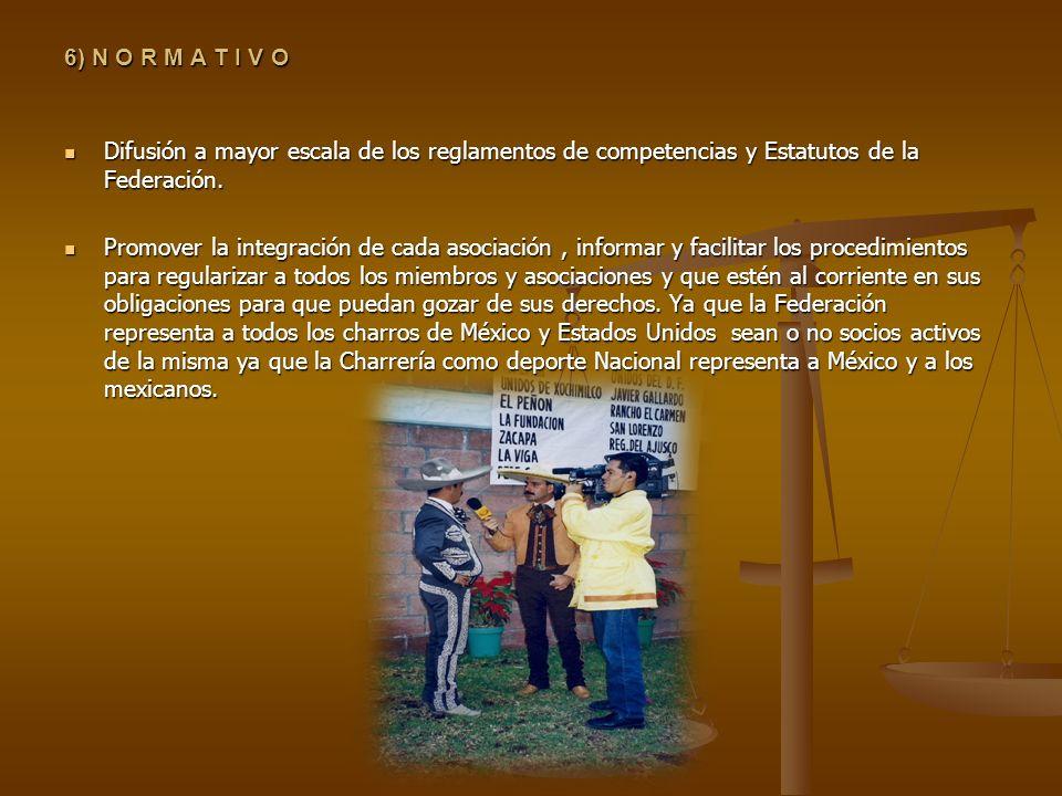 6) N O R M A T I V O Difusión a mayor escala de los reglamentos de competencias y Estatutos de la Federación.