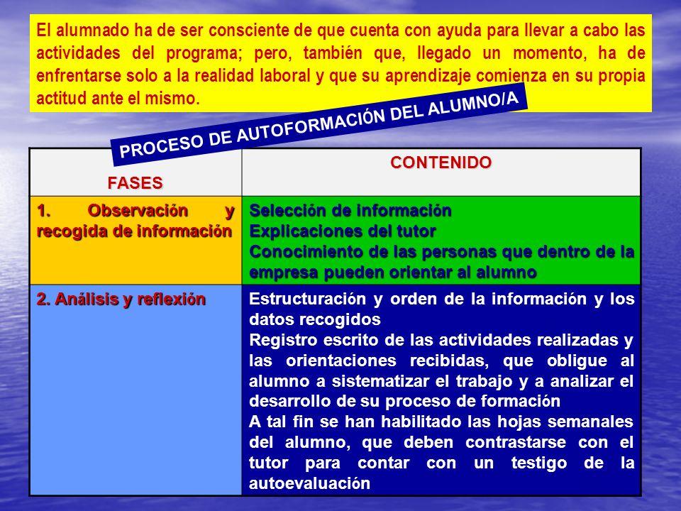PROCESO DE AUTOFORMACIÓN DEL ALUMNO/A