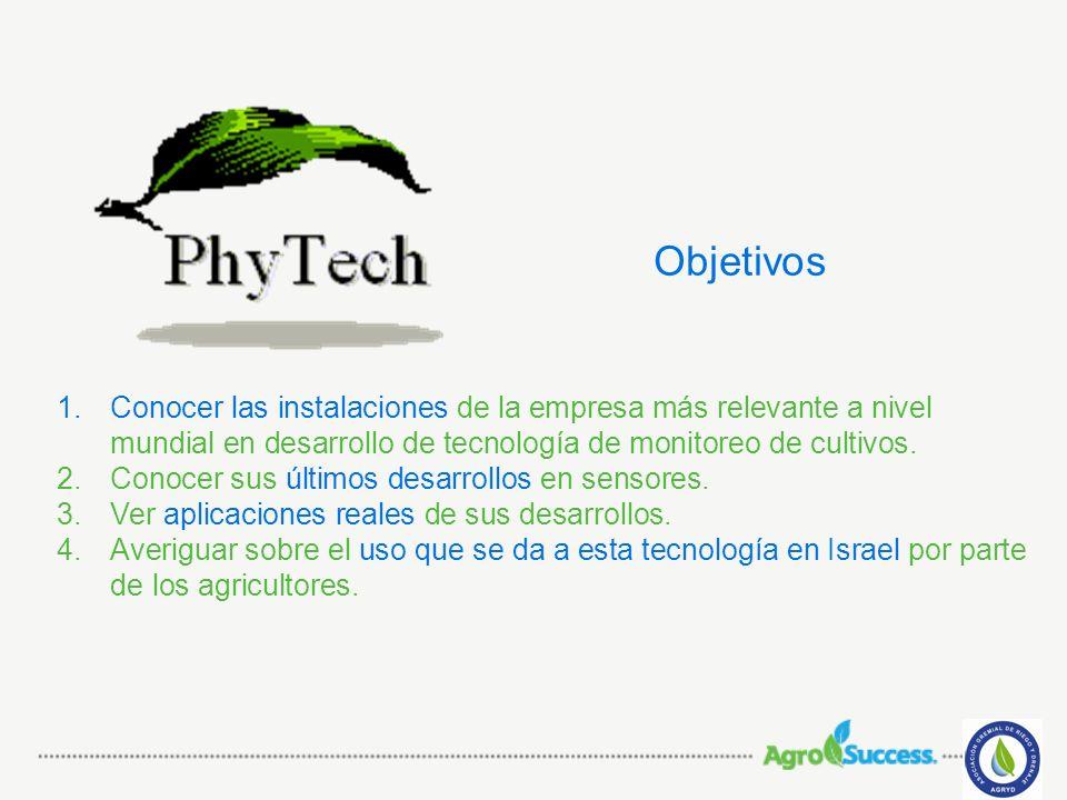 Objetivos Conocer las instalaciones de la empresa más relevante a nivel mundial en desarrollo de tecnología de monitoreo de cultivos.
