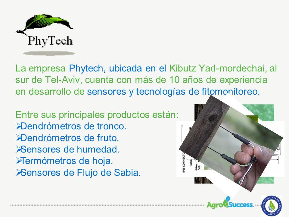 La empresa Phytech, ubicada en el Kibutz Yad-mordechai, al sur de Tel-Aviv, cuenta con más de 10 años de experiencia en desarrollo de sensores y tecnologías de fitomonitoreo.