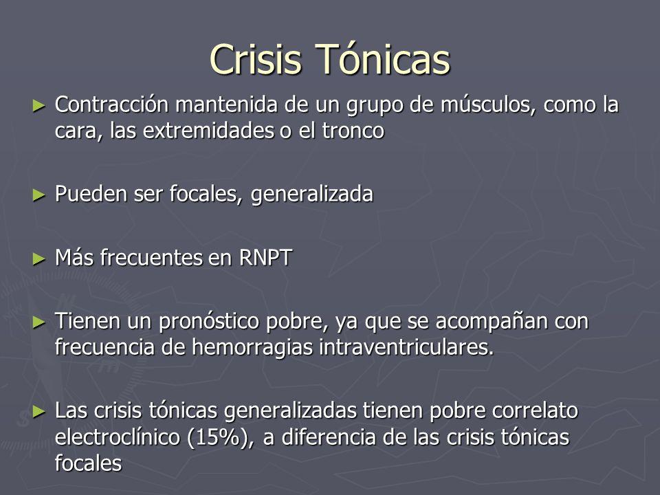 Crisis TónicasContracción mantenida de un grupo de músculos, como la cara, las extremidades o el tronco.