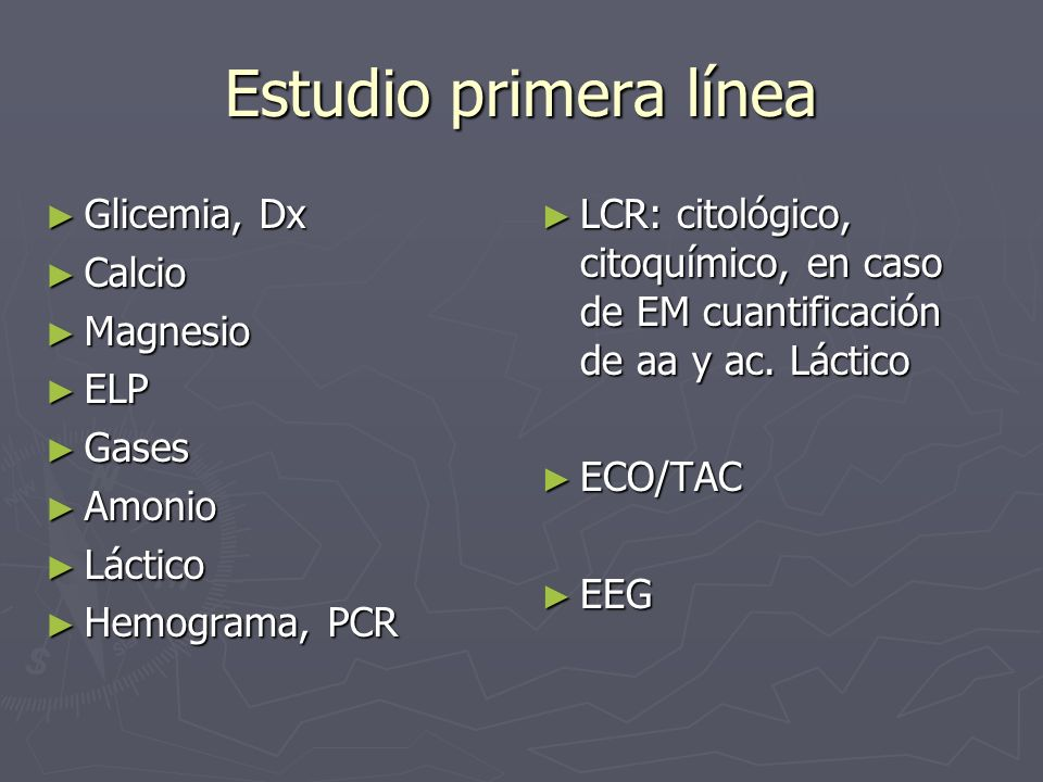 Estudio primera línea Glicemia, Dx Calcio Magnesio ELP Gases Amonio