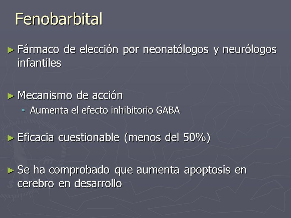 Fenobarbital Fármaco de elección por neonatólogos y neurólogos infantiles. Mecanismo de acción. Aumenta el efecto inhibitorio GABA.