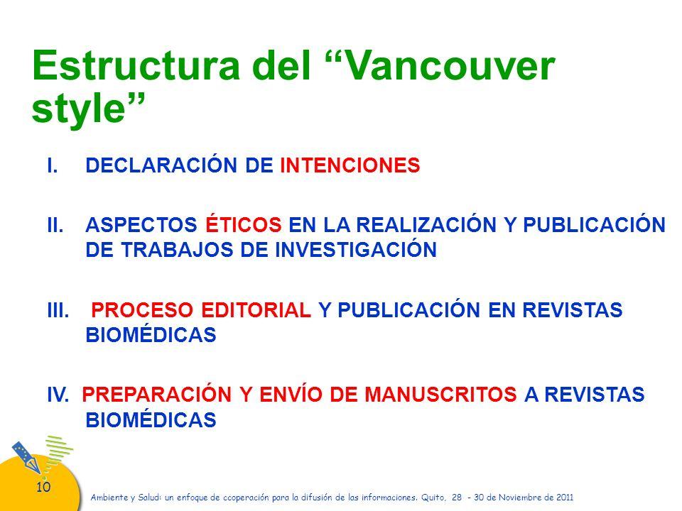 Estructura del Vancouver style