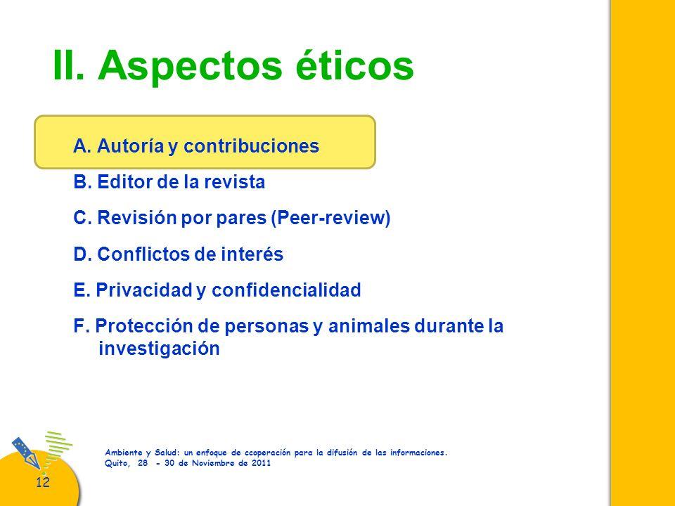 II. Aspectos éticos A. Autoría y contribuciones