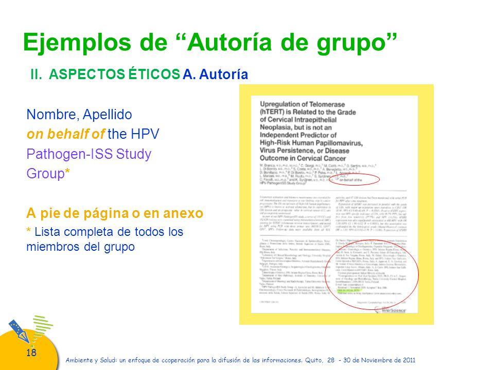 Ejemplos de Autoría de grupo