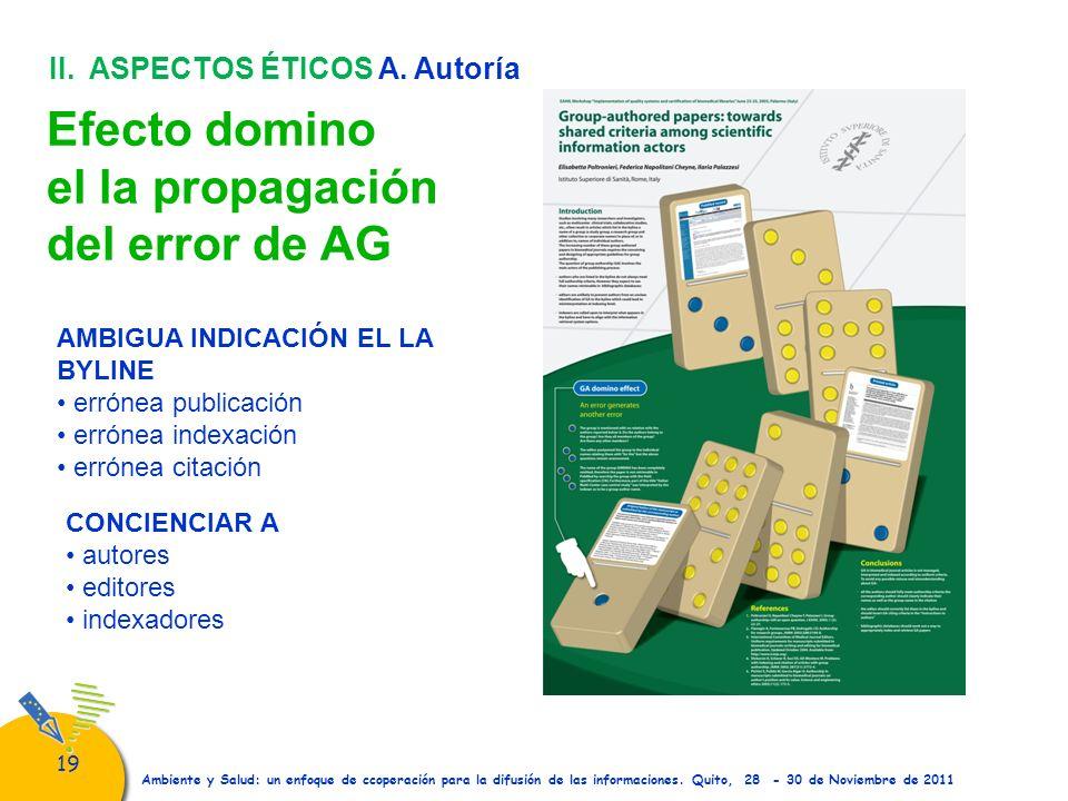 Efecto domino el la propagación del error de AG