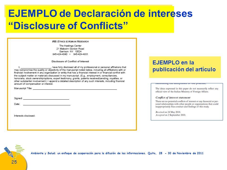 EJEMPLO de Declaración de intereses Disclosure of Conflicts
