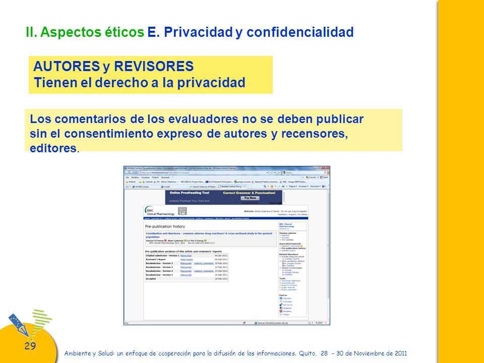 II. Aspectos éticos E. Privacidad y confidencialidad