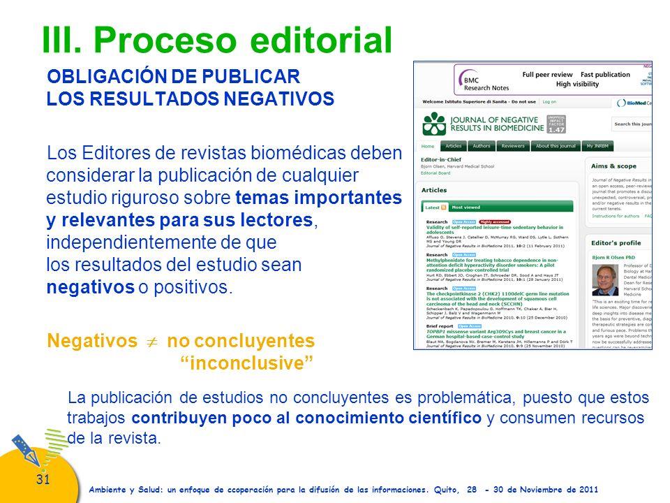 III. Proceso editorial OBLIGACIÓN DE PUBLICAR LOS RESULTADOS NEGATIVOS
