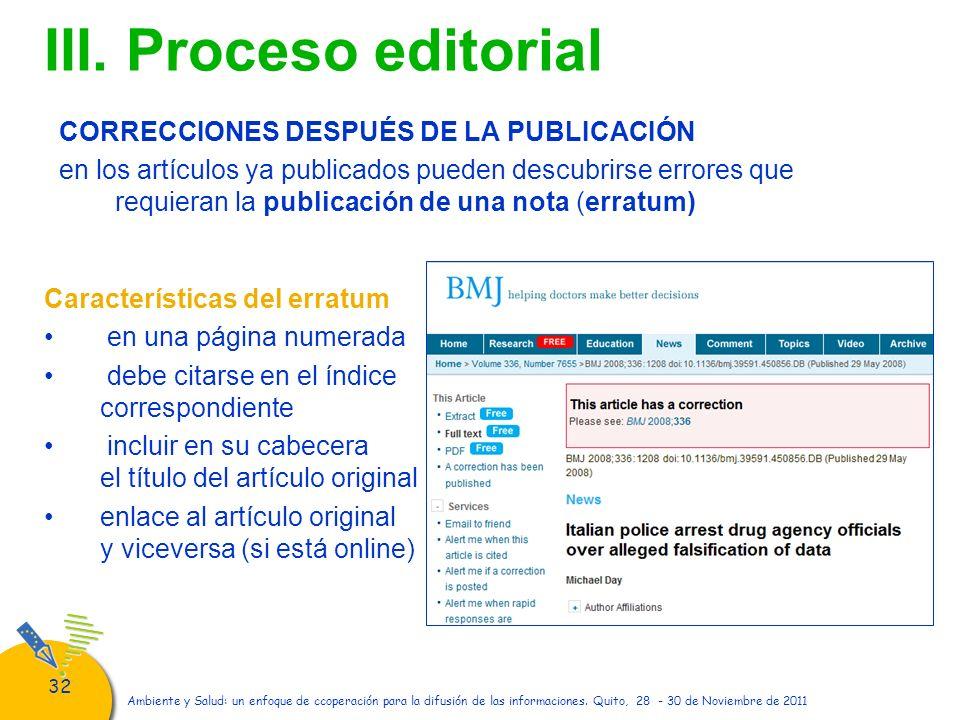 III. Proceso editorial CORRECCIONES DESPUÉS DE LA PUBLICACIÓN