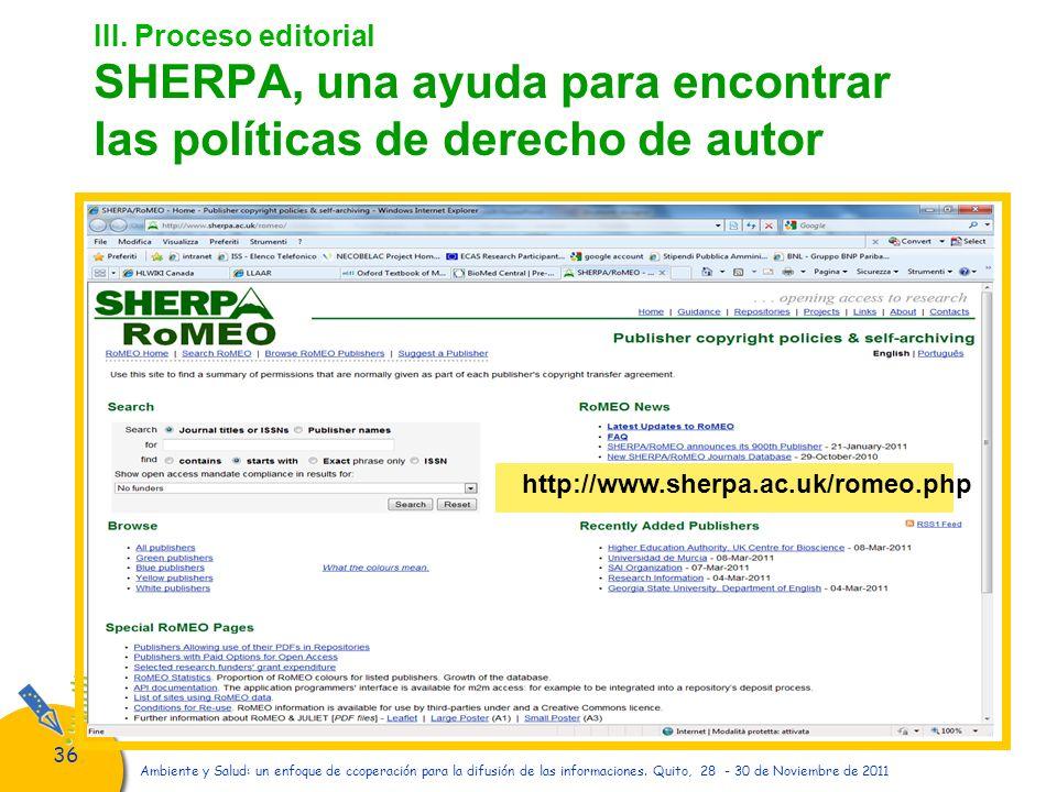 III. Proceso editorial SHERPA, una ayuda para encontrar las políticas de derecho de autor