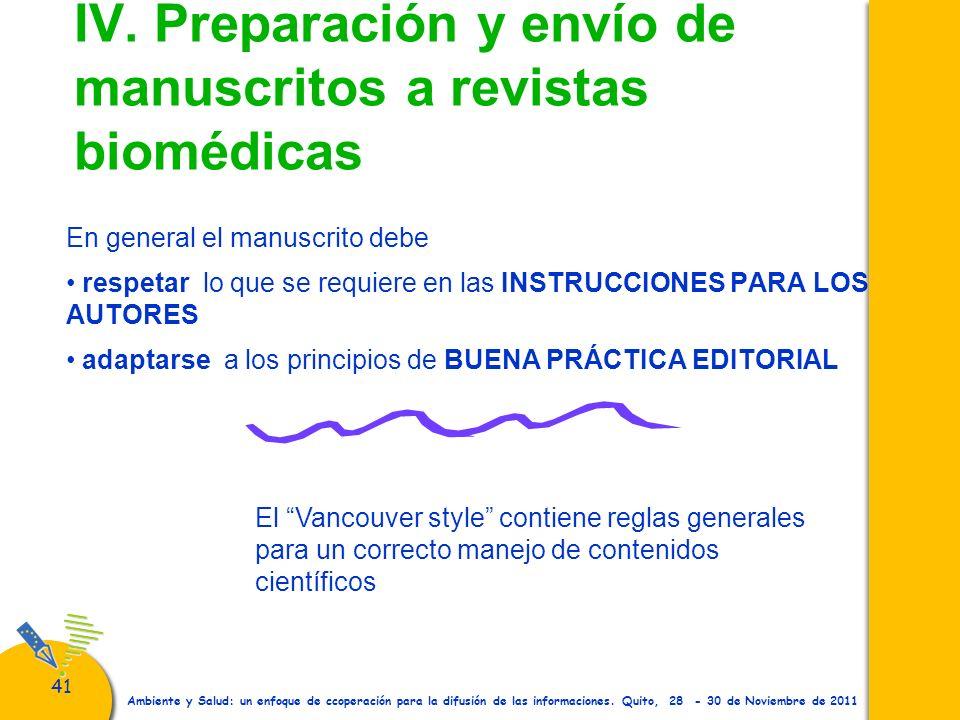 IV. Preparación y envío de manuscritos a revistas biomédicas