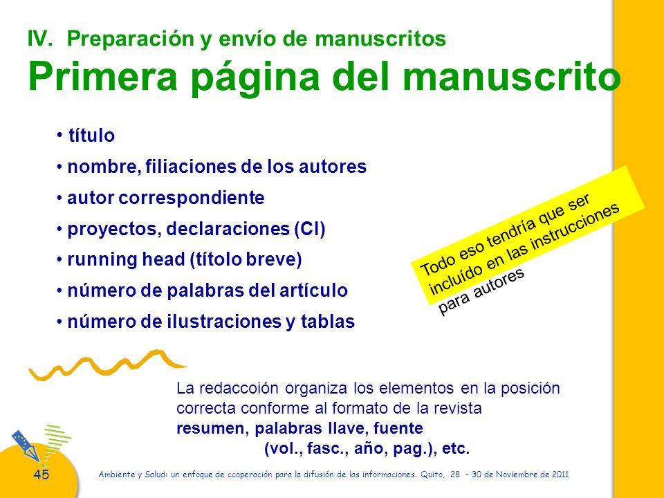 IV. Preparación y envío de manuscritos Primera página del manuscrito