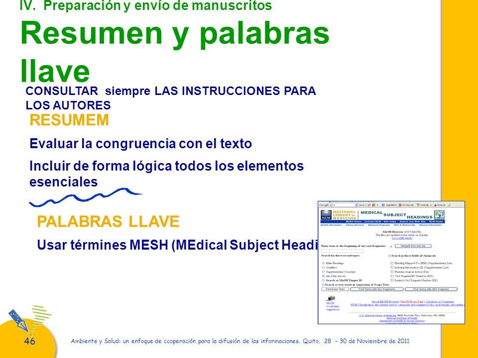 IV. Preparación y envío de manuscritos Resumen y palabras llave