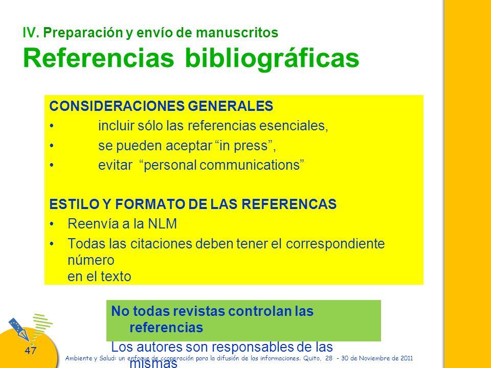 IV. Preparación y envío de manuscritos Referencias bibliográficas