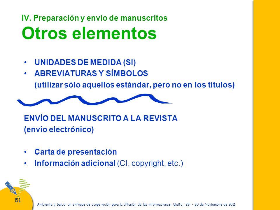 IV. Preparación y envío de manuscritos Otros elementos