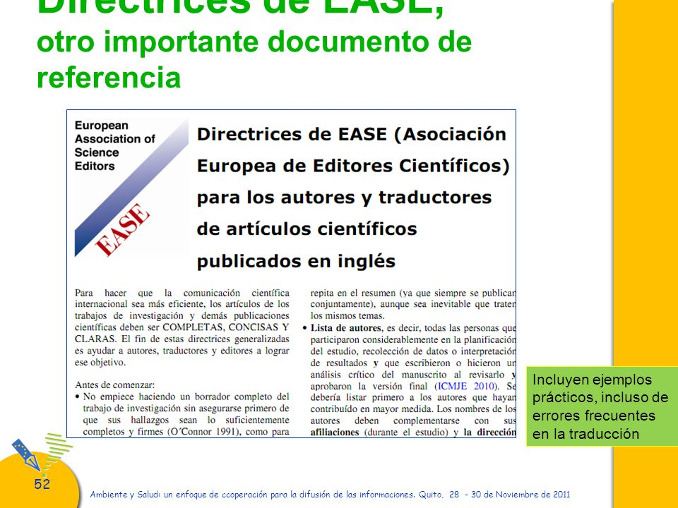 Directrices de EASE, otro importante documento de referencia