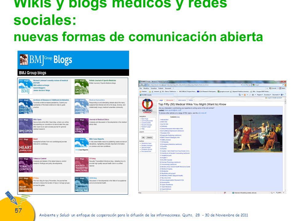 Wikis y blogs médicos y redes sociales: nuevas formas de comunicación abierta