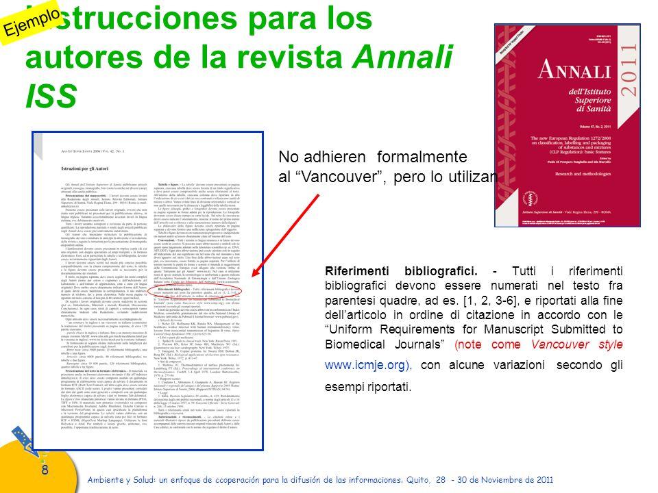 Instrucciones para los autores de la revista Annali ISS