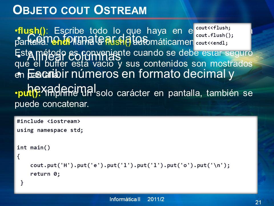 Objeto cout Ostream Cómo formatear datos Alinear columnas