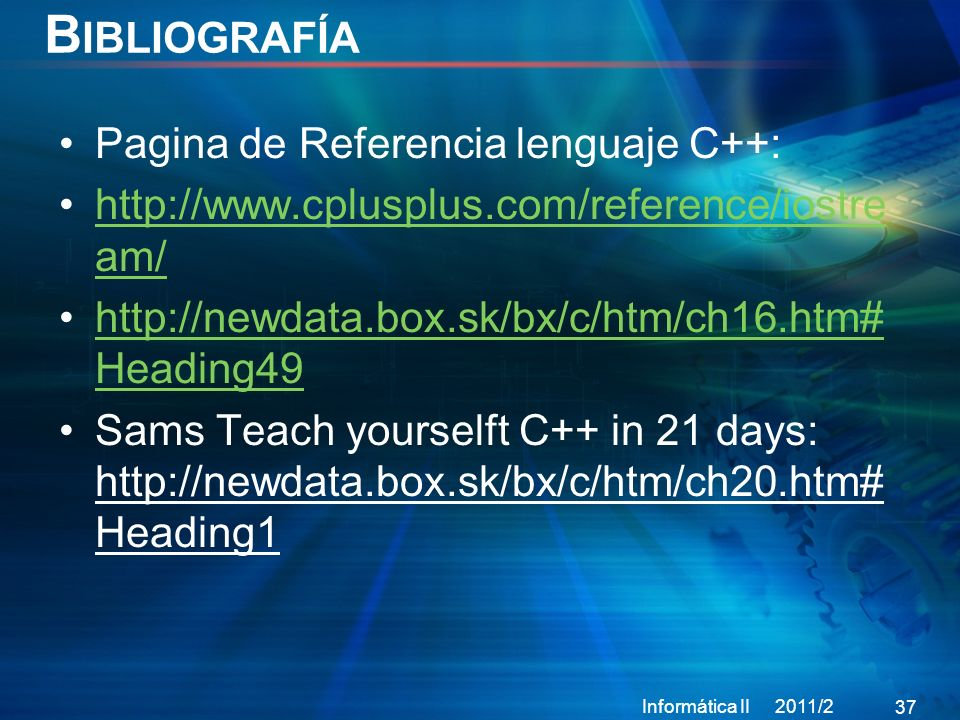Bibliografía Pagina de Referencia lenguaje C++: