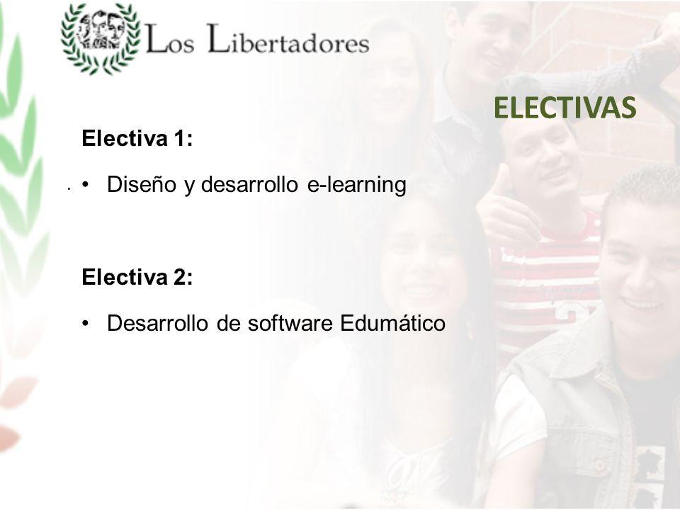 ELECTIVAS Electiva 1: Diseño y desarrollo e-learning Electiva 2: