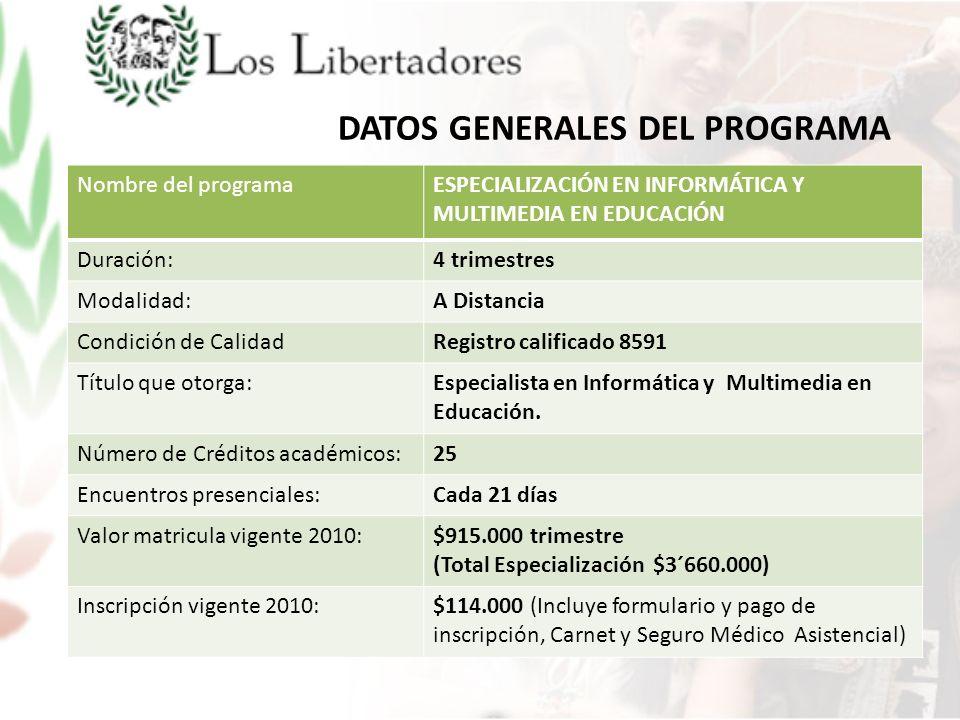 DATOS GENERALES DEL PROGRAMA