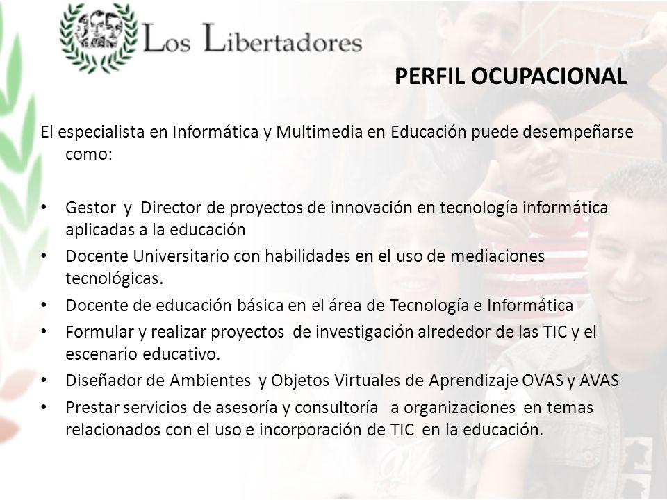 PERFIL OCUPACIONAL El especialista en Informática y Multimedia en Educación puede desempeñarse como:
