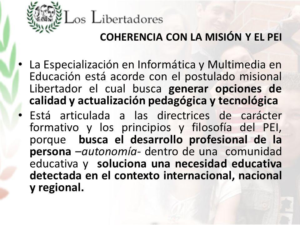 COHERENCIA CON LA MISIÓN Y EL PEI
