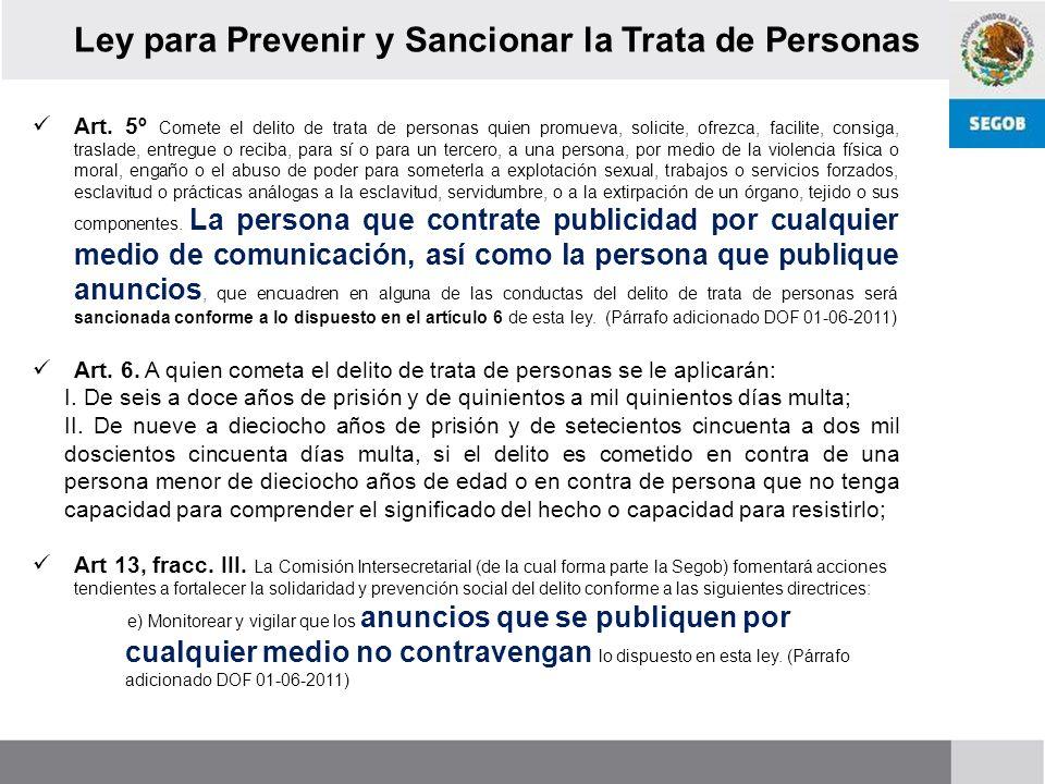 Ley para Prevenir y Sancionar la Trata de Personas