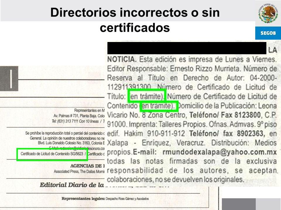 Directorios incorrectos o sin certificados