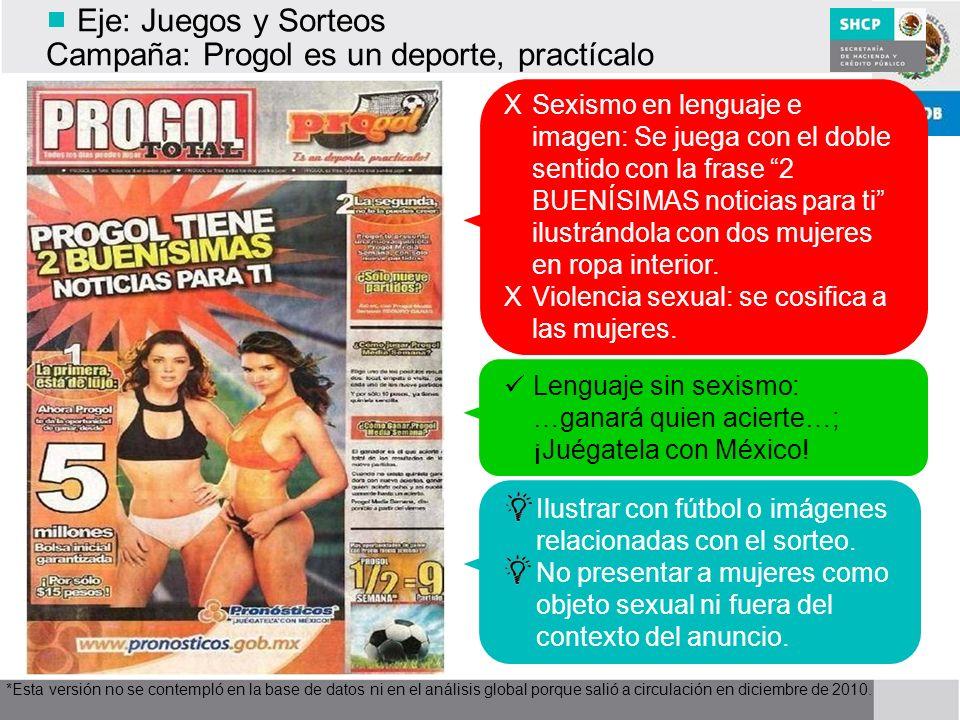 Eje: Juegos y Sorteos Campaña: Progol es un deporte, practícalo