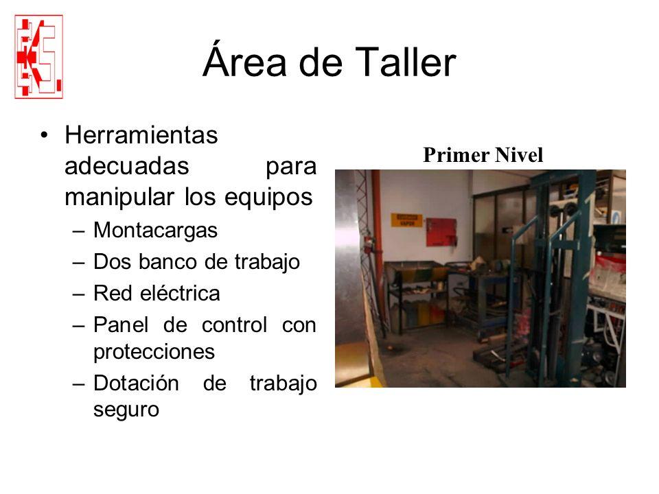 Área de Taller Herramientas adecuadas para manipular los equipos