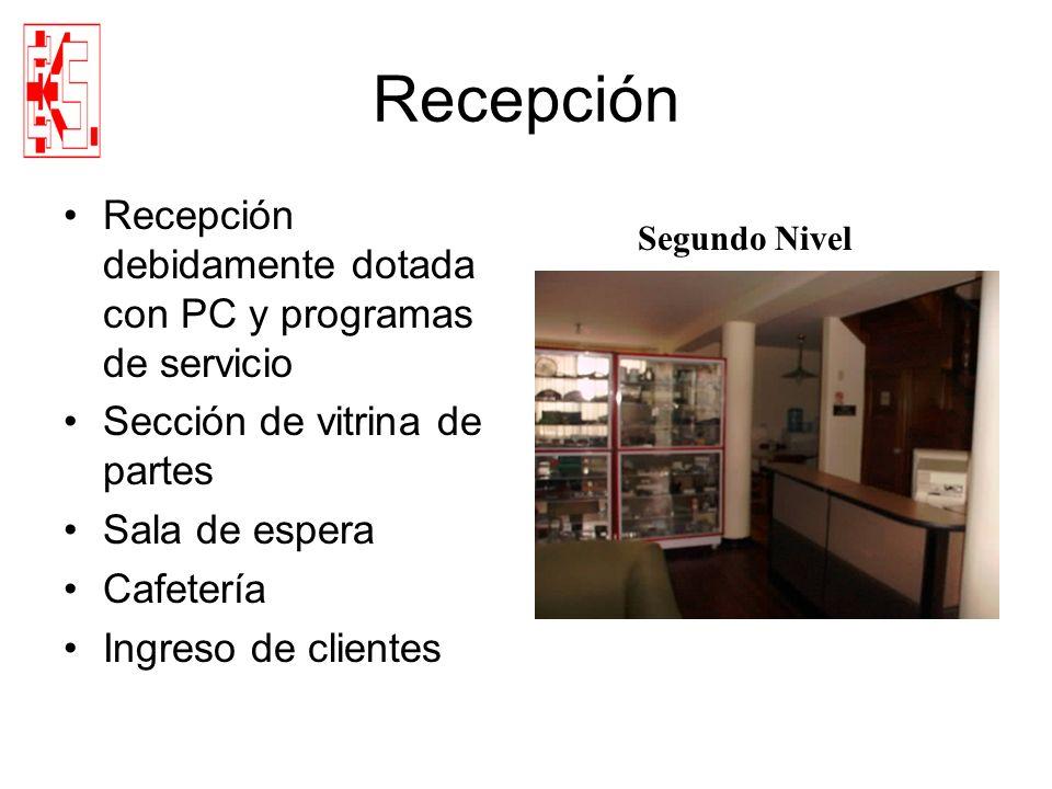 Recepción Recepción debidamente dotada con PC y programas de servicio