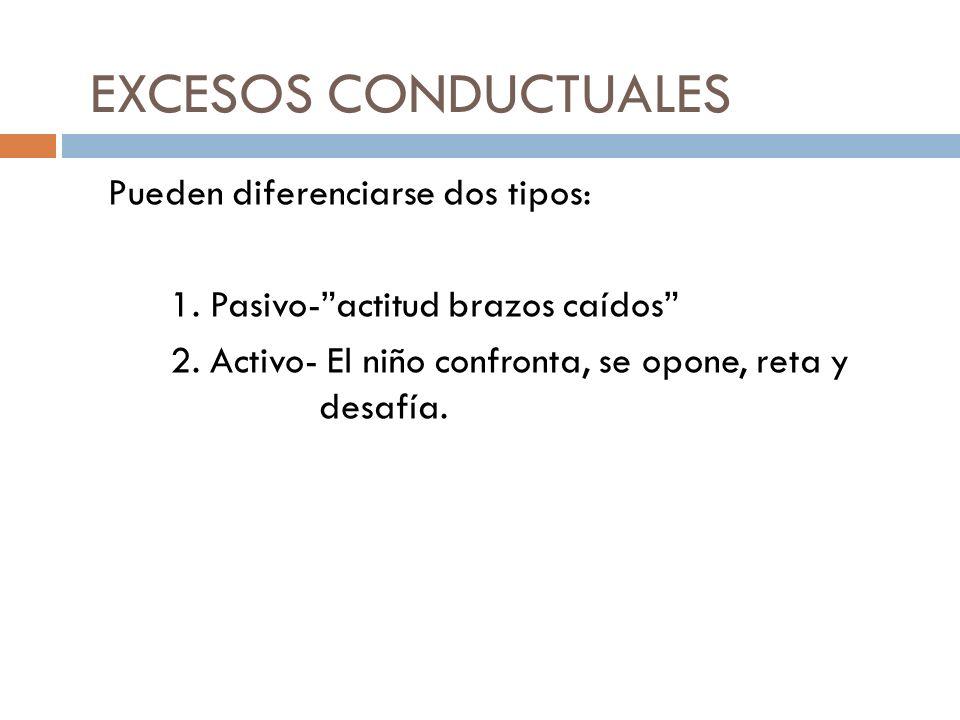 EXCESOS CONDUCTUALES Pueden diferenciarse dos tipos: 1.