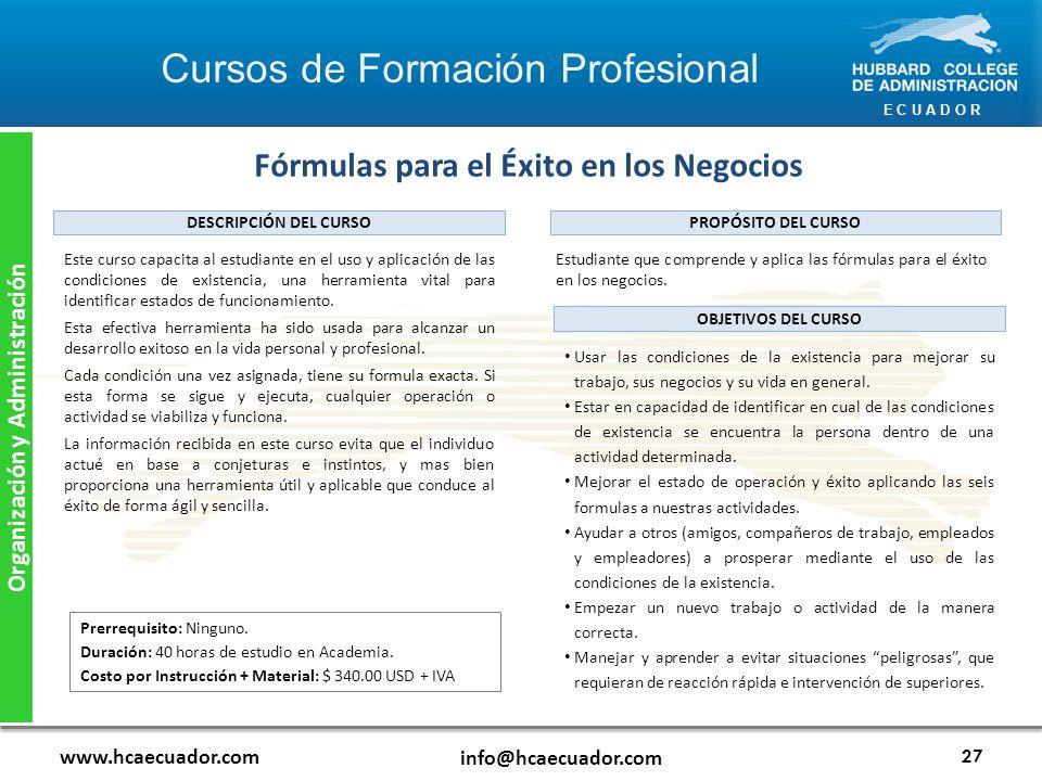 Fórmulas para el Éxito en los Negocios Organización y Administración