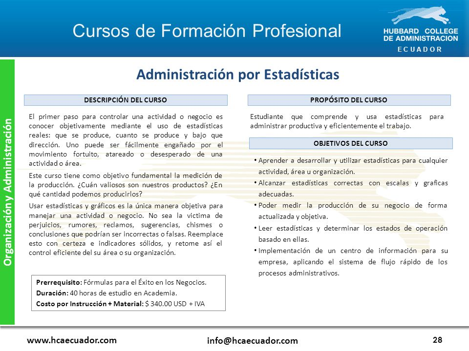 Administración por Estadísticas Organización y Administración